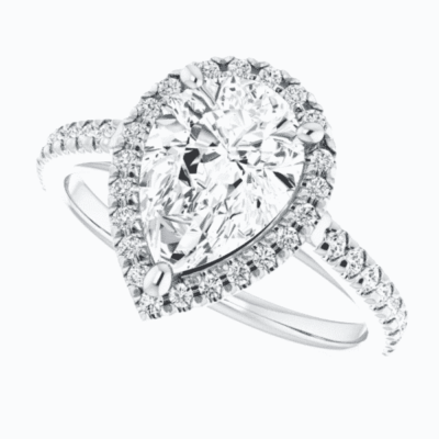 2.08 ctw. Pear Cut Diamond Halo Engagement Ring in 14K White Gold