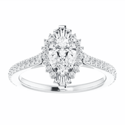 0.83 ctw. Pear-Cut Diamond Engagement Ring in 14K White Gold