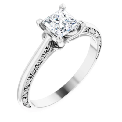 0.79 ct. Princess Cut Diamond Engraved Engagement Ring with a 14K White Gold Solitaire Band