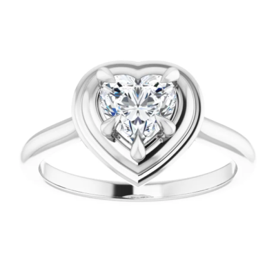 1.25 ct. Heart Cut Diamond Solitaire Ring in 14K White Gold