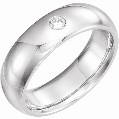 0.10 ct. Gypsy-Set Men's Diamond Wedding Band in 14K White Gold