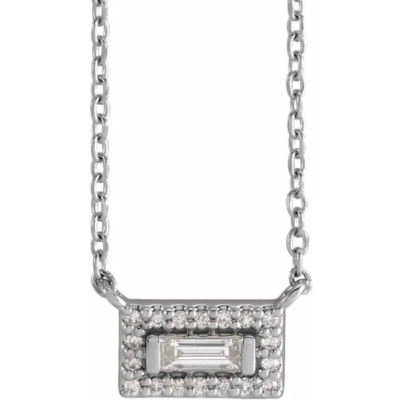 0.10 ctw. Diamond Halo Necklace with a 14K White Gold Setting and Chain