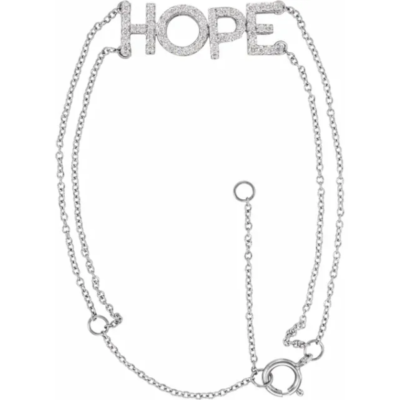 0.25 ctw. Diamond Hope Bracelet with a 14K White Gold Chain