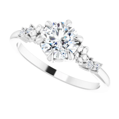 1.06 ctw. Luxurious Five Stone Round-Cut Diamond Engagement Ring in a 14K White Gold Floral Setting