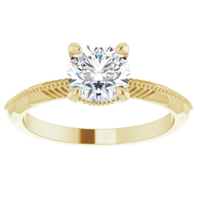 1.00 ct. Engraved Round-Cut Diamond Engagement Ring in 14K Yellow Gold