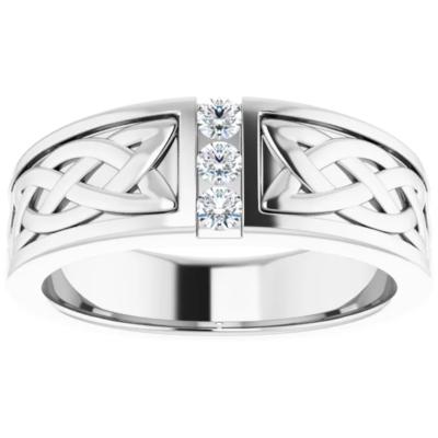 0.18 ctw. Men's Three Stone Diamond Wedding Band with Round Stones in 14K White Gold