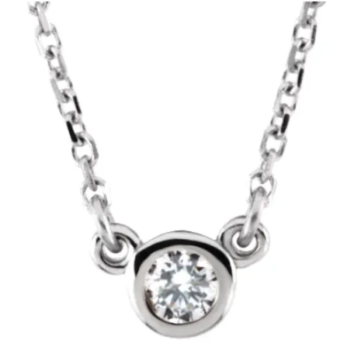 0.10 ct. Bezel-Set Diamond Solitaire Necklace in 14K White Gold