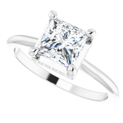1.08 ctw. Princess Cut Diamond Engagement Ring in 14K White Gold with a Crown of Diamonds