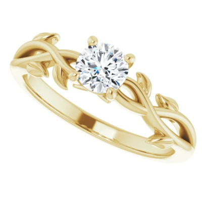 0.45 ct. Floral Round-Cut Diamond Solitaire Engagement Ring in 14K Yellow Gold