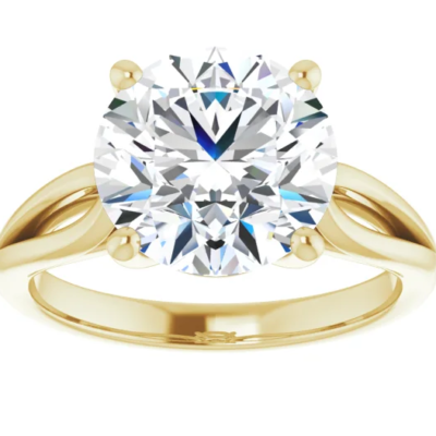 3.70 ct. Round Cut Diamond Solitaire Engagement Ring in Gleaming 14K Yellow Gold