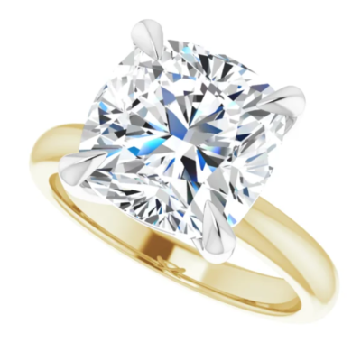 5.00 ct. Cushion Cut Diamond Solitaire Engagement Ring in 14K Yellow Gold