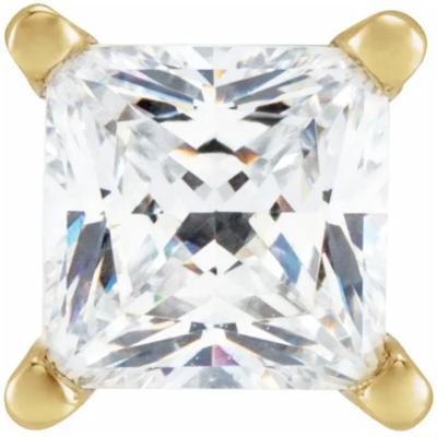 2.00 ctw. Princess Cut Diamond Earrings in a 14K Yellow Gold Basket Setting