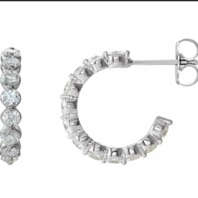 1.375 ctw. Round Cut Diamond Hoop Earrings in 14K White Gold