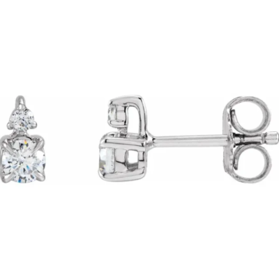 0.50 ctw. Accented Claw-Prong Round Cut Diamond Earrings in 14K White Gold