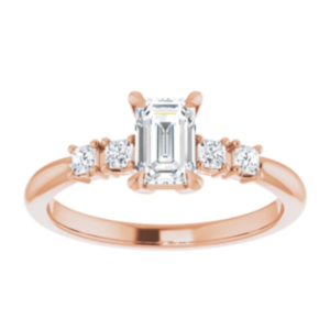 0.99 ctw. Five Stone Emerald Cut Diamond Engagement Ring in 14K Rose Gold