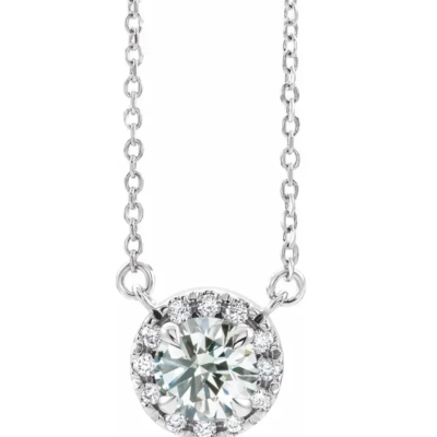 0.875 ctw. French-Set Diamond Halo Necklace in 14K White Gold