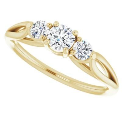 0.45 ctw. Three Stone Round Cut Diamond Wedding Band in 14K Yellow Gold