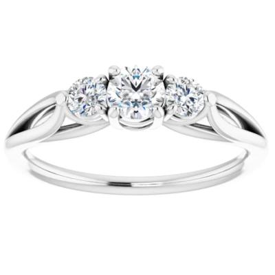 0.45 ctw. Three Stone Round Cut Diamond Wedding Band in 14K White Gold