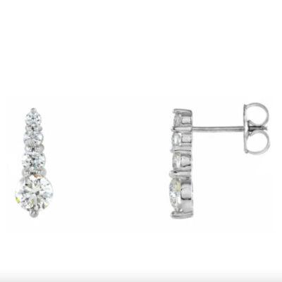 1.06 ctw. Diamond Journey Earrings in 14K White Gold