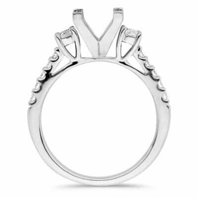 1.15 ctw. 18k Three Stone Cathedral Diamond Setting