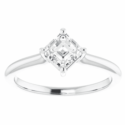 0.70 ct. Asscher Cut Engagement Ring in Sterling 14K White Gold