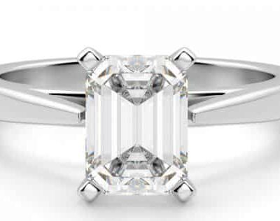 1.45 ct. Emerald Cut Diamond Engagement Ring in a 14K White Gold Cathedral Setting