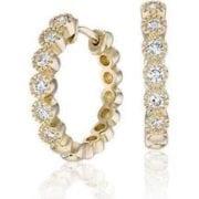 1.08 ctw. Round Cut Diamond Mini 14k Yellow Gold Hoops