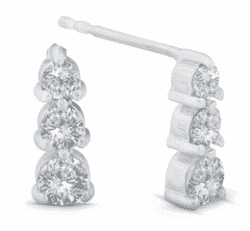 1.55 ctw. Three Round Cut Diamond Earrings in 14K White Gold