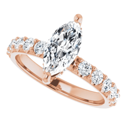 1.20 ctw. Marquise Cut Engagement Ring in 14K Rose Gold with Shining Accent Stones