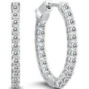 1.45 ctw. Oval Diamond Hoop Earrings set in 14K White Gold