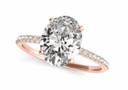 2.51 ctw. Oval Cut Diamond Ring Set In a Rose Gold French Diamond Pave Setting