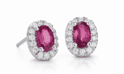 1.54 ctw Oval Ruby and Pavé Diamond Earrings in 14k White Gold