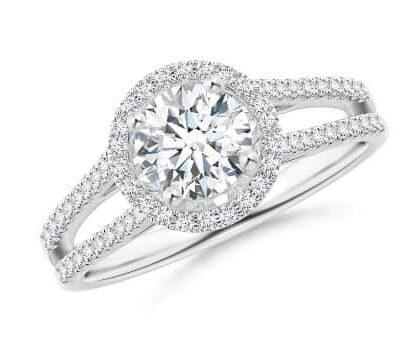 1.92 ctw. Split Round Cut Diamond Engagement Ring in 14K White Gold