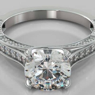 2.86 ctw. Round Cut Diamond Vintage Engagement Ring in 14K White Gold