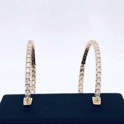 1.80 ctw. Large Diamond Hoop Earrings in 14K Yellow Gold