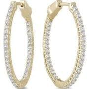 1.80 ctw. Oval Diamond Hoop Earrings set in Yellow Gold